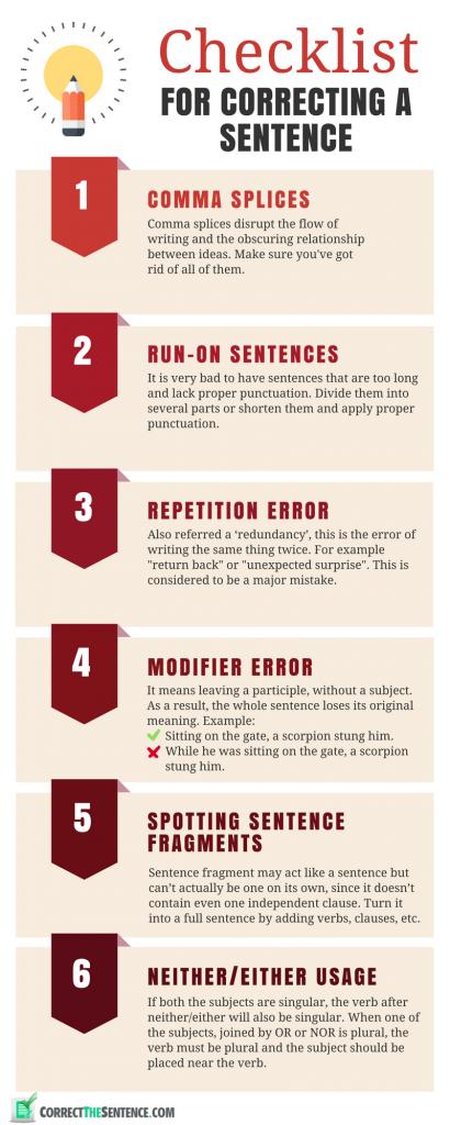 sentence correction checklist
